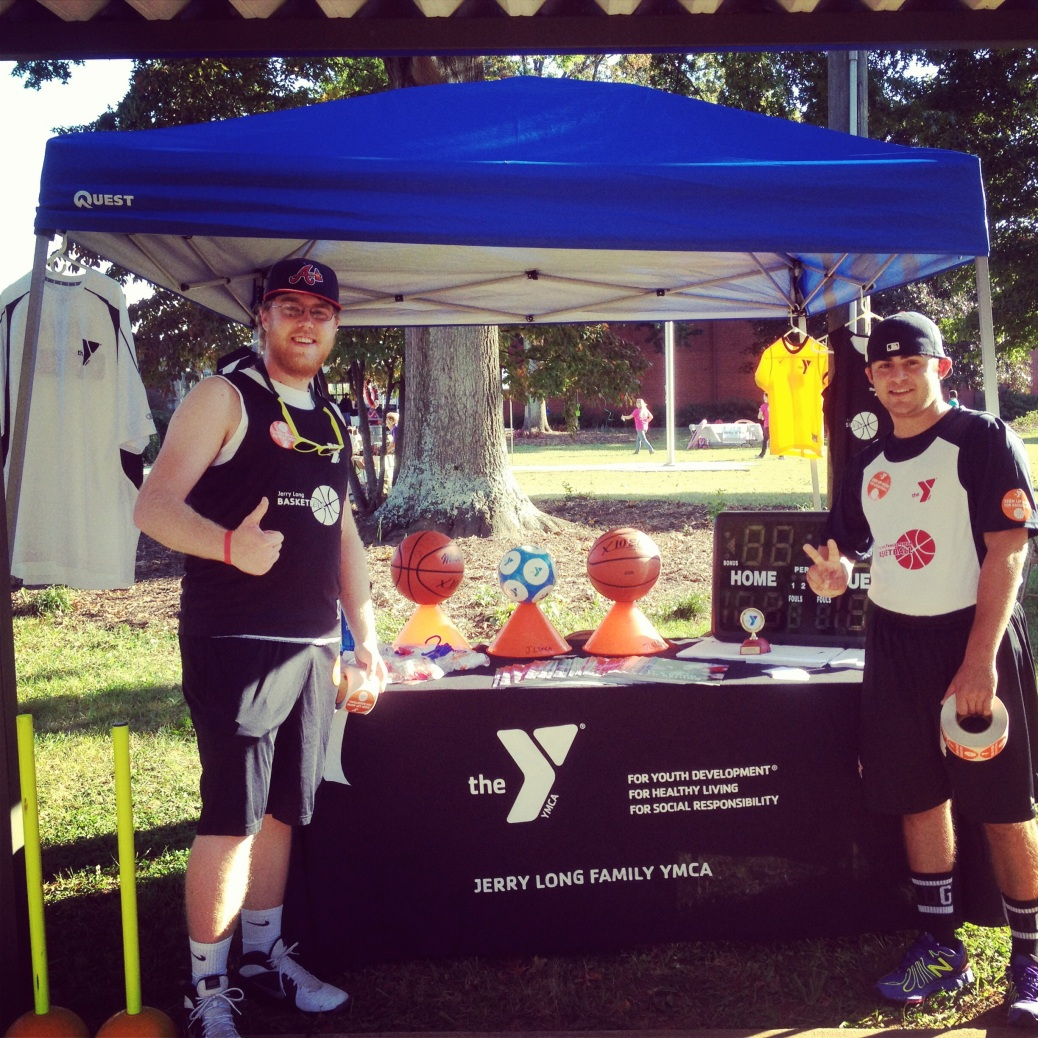 Jordan(left) marketing winter sports at an elementary school family festival.